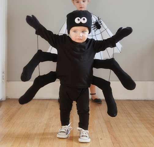 child in homemade spider costume for halloween